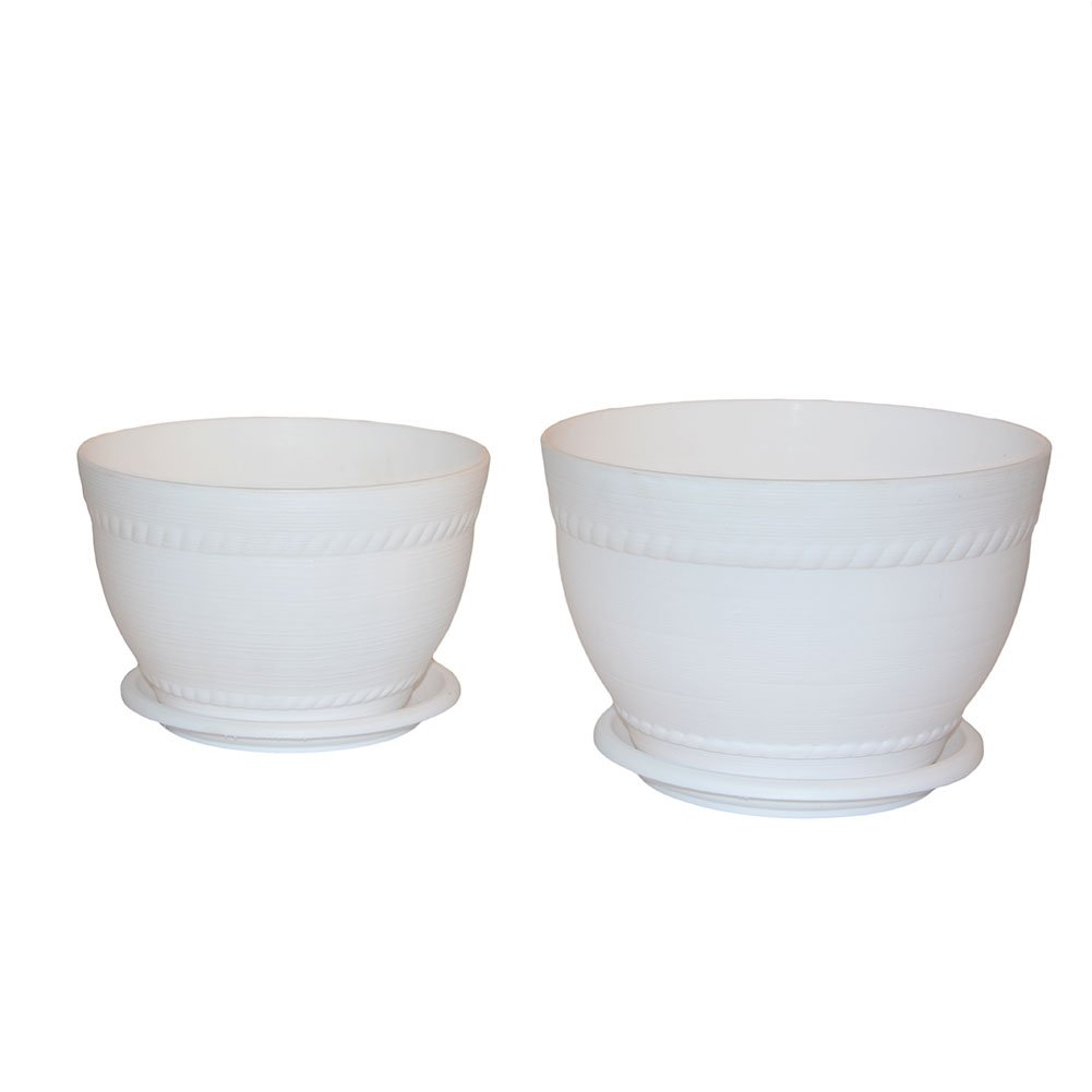 Centurich Round Plastic Flower Pot With Tray for Yard Balcony Room office and Garden, Pack of 2 (Large&Small) (white)