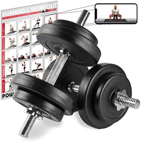 POWRX Mancuernas 20 kg Set (2 x 10 kg) + PDF Workout (Negro)