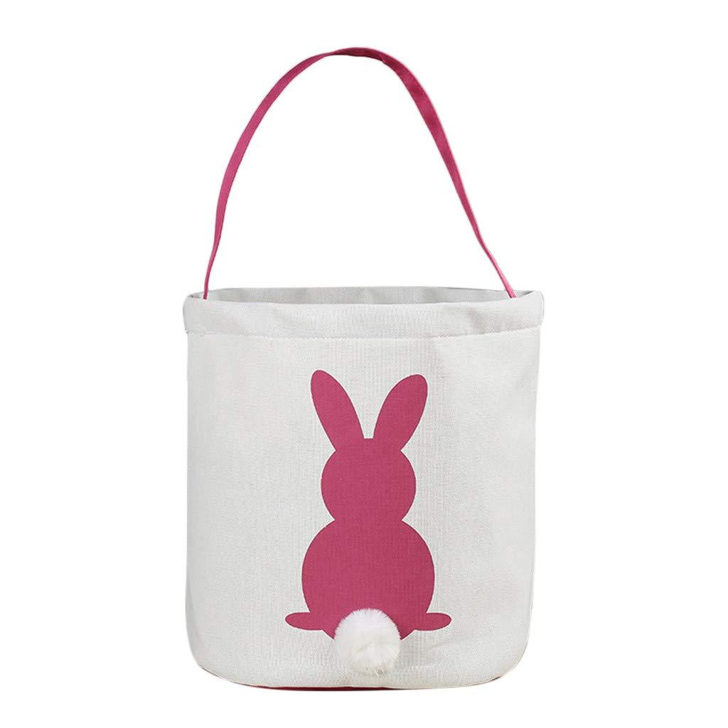 Clearance!!! Bunny Ear Bag Easter Baskets Easter Egg Basket with Bunny Design Easter Egg Hunt Bag Hold Eggs Basket Easter Bunny Bag (Hot Pink)
