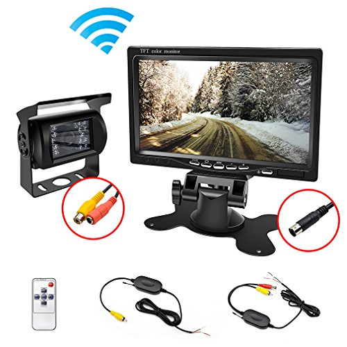 Remote Color Camera - wireless backup Camera Waterproof and Car Monitor / 7