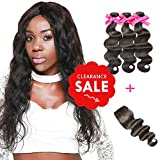 DSOAR Brazilian Hair With Closure 8A 3 Bundles Body Wave Virgin Human Hair Bundles With Lace Closure 100% Unprocessed Hair Extensions Natural Black Color (14 16 18 + 12, Free Part)