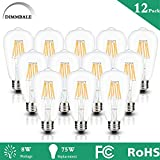 ST64 LED Vintage Edison Light Bulb, ST64 LED Filament Light,Pentagram Squirrel Cage bulbs,4000k Natural White,8W ST21 LED Bulbs,550lumens 75W Incandescent Equivalent, Dimmable E26 Base Bulb -12 pack