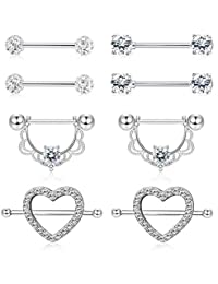 Subiceto 4 Pairs 14G Stainless Steel Nipplerings Nipple Tongue Rings CZ Opal Barbell Body Piercing Jewelry