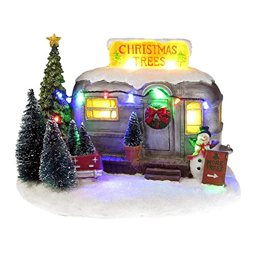 Lightahead Musical Christmas Tree Selling RV Trailer Home figurine with Snowman and Colorful LED Light with 8 Melodies