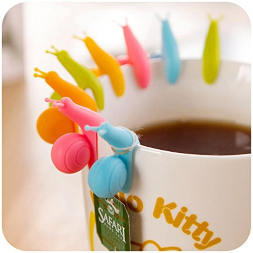 Ayutthaya shop 5 PCS Cute Snail Shape Silicone Tea Bag Holder Cup Mug Candy Colors Gift Set GOOD Random Color (Caramel Drum)