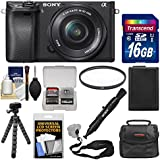 Sony Alpha A6300 4K Wi-Fi Digital Camera & 16-50mm Lens (Black) with 16GB Card + Case + Battery + Flex Tripod + Filter + Strap + Kit