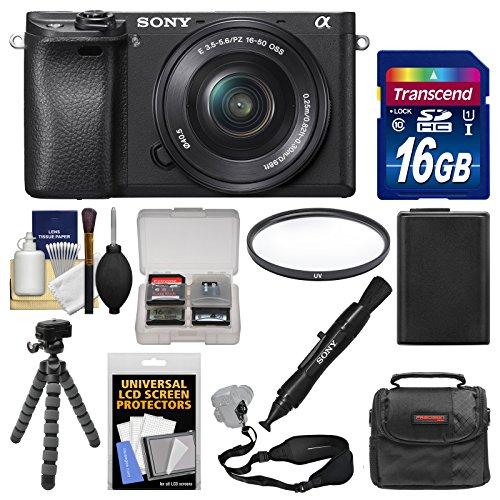 Sony Alpha A6300 4K Wi-Fi Digital Camera & 16-50mm Lens (Black) with 16GB Card + Case + Battery + Flex Tripod + Filter + Strap + Kit