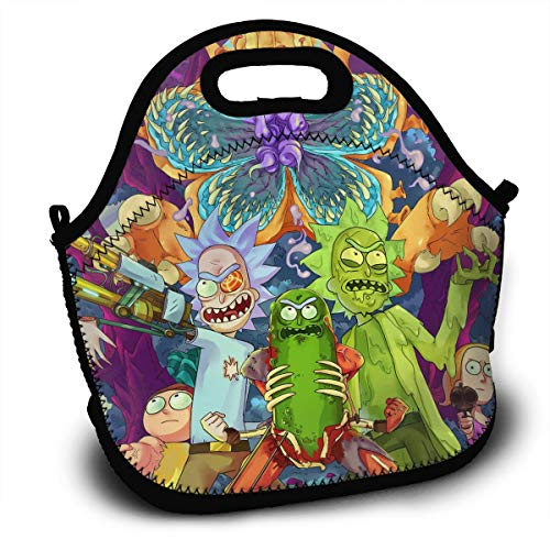 NEWXINGXINGF196 Rick Cuke Morty Unisex Kids Adults Lunch Bag Girls Boys DIY Bento Boxes Lunchbox Thermal Insulated Storage Container Picnic School Work Tote Recycled Insulated Shoulders Food Bag