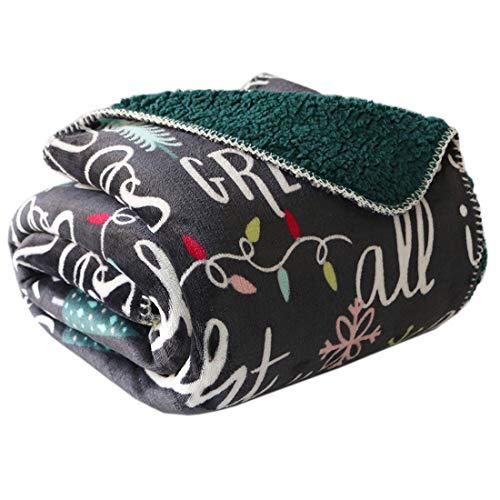 Christmas Blanket - FFLMYUHUL I U Sherpa Ultra Plush Super Soft Lightweight Throw Blanket Cozy Cabin Geometric Plaid Luxury Blanket for Bed Couch Warm Fuzzy Blanket 50''x60''Christmas Pattern