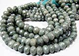 "AAA Quality Mystic Coated Green Silverite Beads / Rondelle Faceted Silverite Chalcedony Beads / Size 7-9mm / Strand 8"" long/ AB Coated Beads"