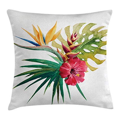 Ambesonne Floral Throw Pillow Cushion Cover, Wild Tropical Orchid Flower Large Leaves Exotic Tropic Petals Picture, Decorative Square Accent Pillow Case, 24