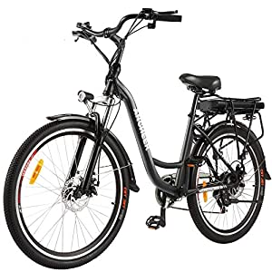 ANCHEER 26″ Aluminum Electric Bike, Adults Electric Commuting Bicycle with Removable 12.5Ah Battery, Professional Derailleur with 6 Speed City Ebike