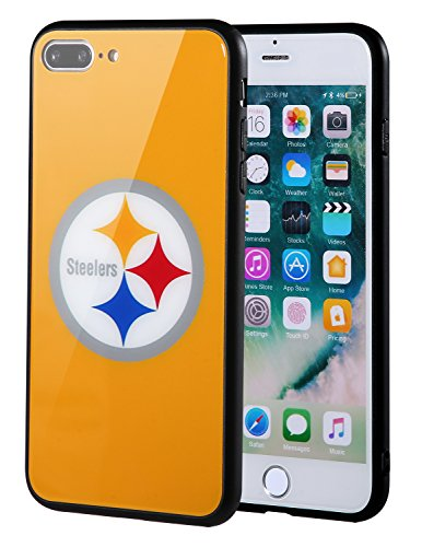 Sportula NFL Phone Case - 9H Tempered Glass Back Cover and Silicone Rubber Bumper Frame Compatible Apple iPhone 8 Plus / 7 Plus (Pittsburgh Steelers) ()