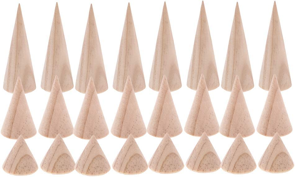 24 Lot Wooden Cone Ring Holder Unpainted Natural Wood Display Wristband Organizer