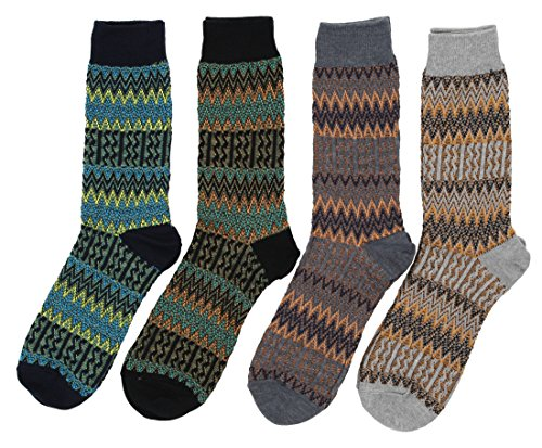4 pairs of Mens Classic Vintage Style Jacquard Kintted Patterns Cotton Socks Multicolor (Sock Hop Clothes For Men)