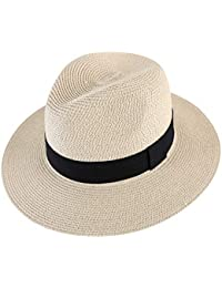 906b3f4aec01a5 Men Wide Brim Straw Foldable Roll up Hat Fedora Summer Beach Sun Hat UPF50+
