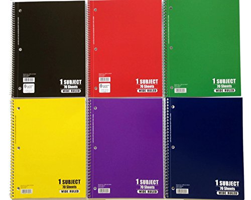 Norcom 1 Subject, Wide Ruled, 70 Sheet Notebooks (6 Pack Of Various Colors) (Notebook Spiral Wide Ruled)