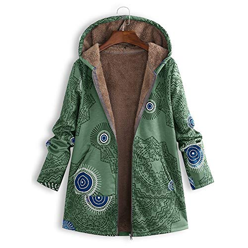 WOCACHI Womens Floral Coats Warm Faux Velvet Plush Vintage Jackets Hooded Outerwear Overcoat Winter Autumn Patchwork Printed Coat Sweaters Lightweight Boho Cotton Padded Oversized ()