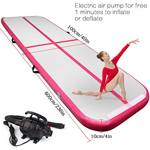 FBSPORT 19.68ft air Track Tumbling mat Inflatable Gymnastics airtrack with Electric Air Pump for Practice Gymnastics, Tumbling,Parkour, Home Floor and Martial Arts