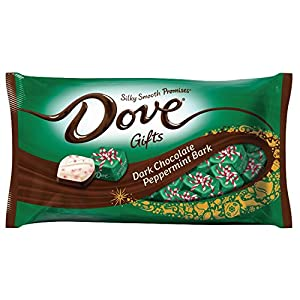 DOVE PROMISES Holiday Dark Chocolate Peppermint Bark Candy 7.94-Ounce Bag (Pack of 4)