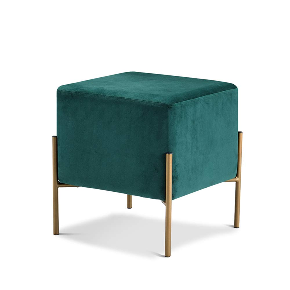 GREEN XRXY Footstool, Changing shoes Stool, Sofa Combination Square Stool, Leisure Cloth Stool, with Detachable Cloth Cover, for Bedroom Living Room Balcony, 4 colors (color   Green)