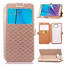 YHUISEN Solid Color Smart Window View PU Leather Wallet Flip Folio Cover Case With Stand/Card Slot For Samsung Galaxy Note 5 ( Color : Gold )