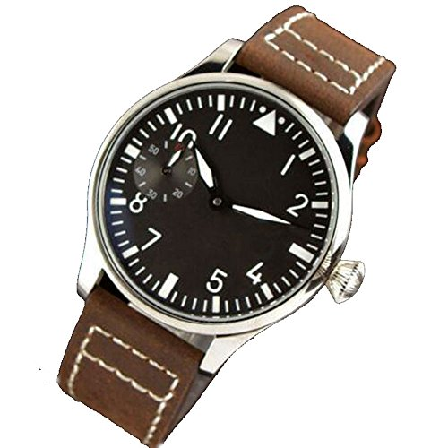 Parnis 44MM Black Sterile Dial 17 Jewels 6497 Manual Winding Movement Men's Wrist Watch Leather Strap