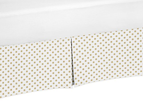 Sweet JoJo Designs Gold and White Polka Dot Pleated Toddler Bed Skirt Dust Ruffle for Watercolor Floral Collection by Sweet Jojo Designs