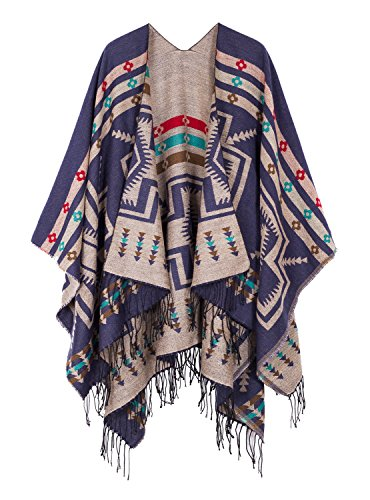 Urban CoCo Women's Printed Tassel Open front Poncho Cape Cardigan Wrap Shawl (Series 1-Navy blue)