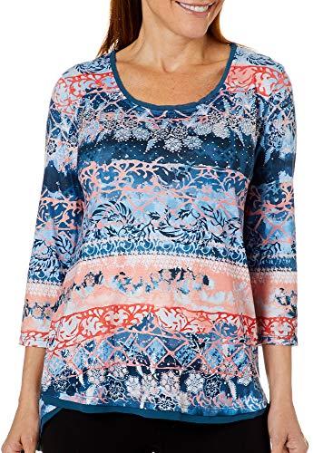 (GLORIA VANDERBILT Womens Laney Mixed Floral Embellished Top Large Mdnght Blue Multi)