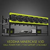 Veddha 8 GPU Deluxe Model Stackable Mining Case Rig Open Air Frame For ETH/ETC/ZCash/ZEC - Support arbitrary number of HIGH SPEED fans