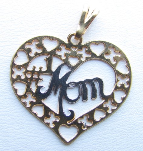 14k Gold Overlay Two Tone Heart Charm with MOM in White Silver Metal