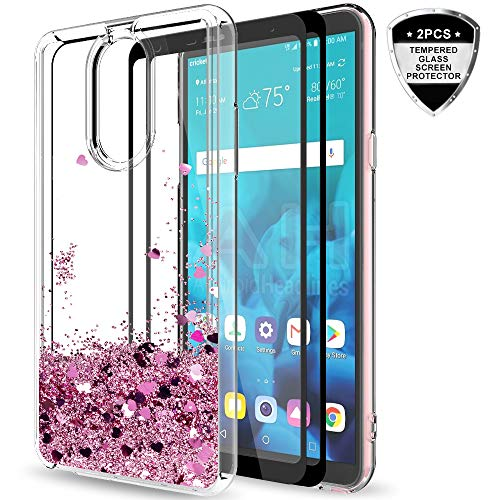 LG Stylo 4 Case,LG Stylo 4 Plus/Q Stylus Case with Tempered Glass Screen Protector [2 Pack] for Girls Women,LeYi Glitter Moving Quicksand Liquid Protective Phone Case for Stylo 4 ZX Rose Gold