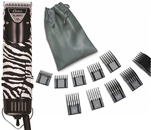 oster-zebra-turbo-a5-2-speed-animal-dog-hair-pro-professional-clipper-10-piece-universal-comb-set