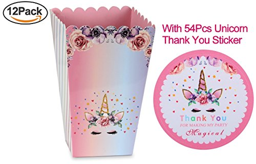 12Pk Magical Unicorn Baby Shower or Birthday Party Favor Popcorn Treat Boxes Unicorn Poop Candy Boxes+ 54Pcs Unicorn Thank You Stickers Unicorn Birthday Party Supplies