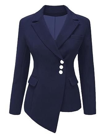 NJunicorn Uncle Damen Asymmetrisch Business Jacke Blazer Slim Fit Mantel mit  Drei Knöpfe Moderne Jacke Formell 6442ab639e