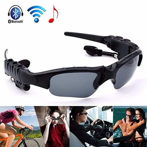 Bluetooth Sunglasses, WwWSuppliers Black Sunlasses for Any Bluetooth Capable Device iPhone Samsung Galaxy Android Sports Music & Talk Shades Glasses ~ Gafas Anteojos Auriculares - Sunlasses
