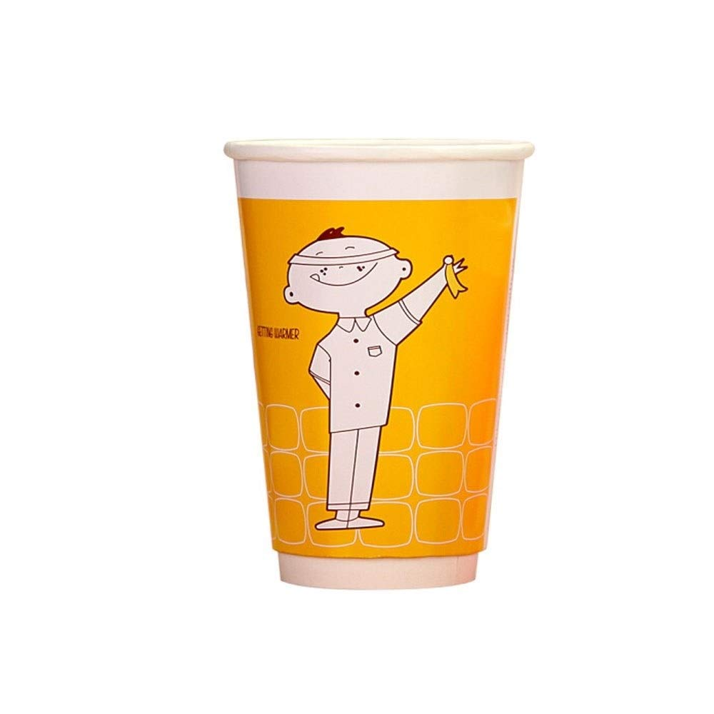TONGBOSHI Disposable Paper Cups, Hollow Coffee Tea Cups, Cartoon Coke Cups, Couple Soy Milk Cups, 100 Pieces, Cup Lid, 497 Ml, Yellow Paper Cup, Without Lid And Lid (Design : Without lid)