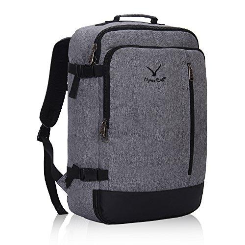 Hynes Eagle 38L Flight Approved Weekender Carry on Backpack Black Grey