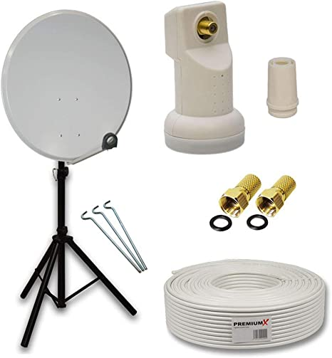 PremiumX camping Juego de satélite (Antena Parabólica móvil 60 cm ...