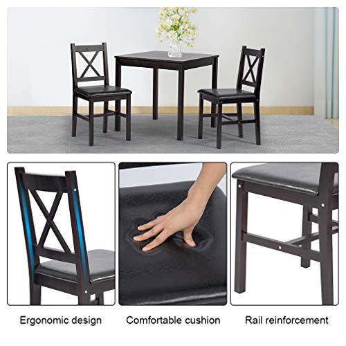 BestMassage Dining Kitchen Table Dining Set 3 Piece Wood in Door Square Small Farmhouse Dining Room Table Set Table and Chair for 2 Person, Dark Brown by BestMassage (Image #3)