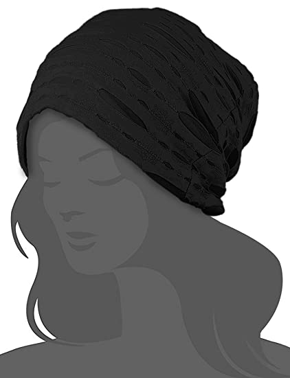 da8b4d5ca80 I wish 100% Cotton Slouchy Snood Caps for Women with Chemo Cancer Hair Loss  Black at Amazon Women s Clothing store