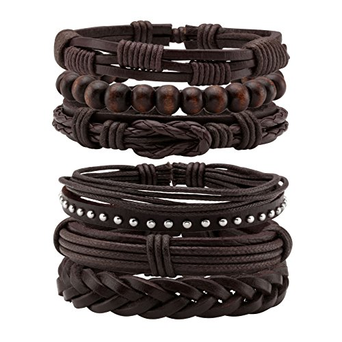 Jusnova 6Pcs Braided Leather Bracelets for Men Women Wooden Bead Cuff Bracelet Adjustable