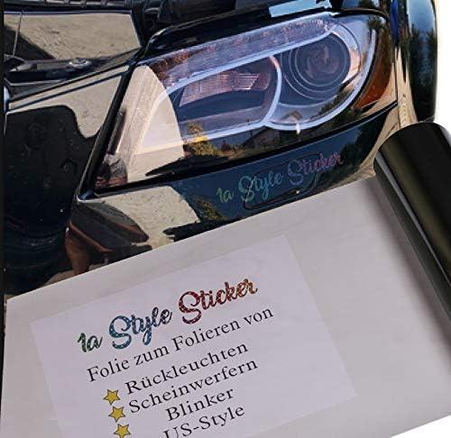 1a Style Sticker Auto Scheinwerfer Folie Hellgrau Folierung Frontscheinwerfer 200cm Tuningfolie Schwarz Auto