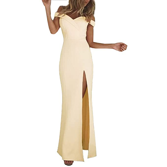 ca7313d99b29 Moxeay Women Off Shoulder V Neck High Split Bodycon Evening Maxi Dress(S