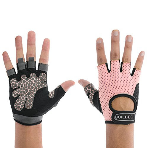 Women's Reflective Cycling Gloves Girls' Mesh Fabric Mountain Bike Gloves Bicycle Riding Gloves Motorcycle Driving Gloves Half Finger Short Bar Gloves with Non-slip Gel Pad (Pink, US-M)