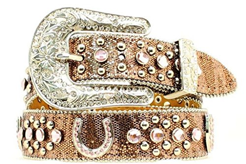 Nocona Girl's Horseshoe Conchos Belt, Brown, 28 (Horseshoe Rhinestone Belt)
