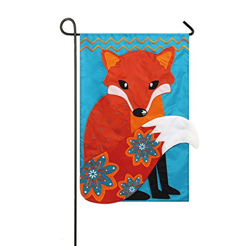 Red Fox with Floral Tail Applique Garden Flag