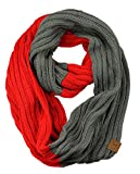 C.C Unisex College High School Sport Team Color Two Tone Winter Knit Scarf - Scarlet/Gray