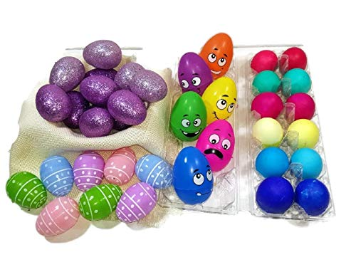 Confetti Easter Eggs (Easter Eggs for Easter Egg Hunt Large Funny Face Eggs Confetti Eggs Including Spring Eggs Medium And Large Eggs shiny Easter Eggs For Kids 27 Items Bundle)